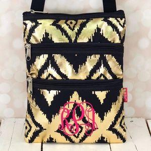 Handbags - Metallic Gold & Navy Crossbody Bag (No Monogram)